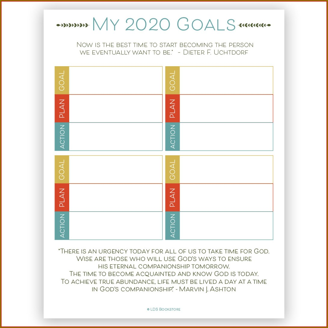 Template Lds Goal Setting Worksheet