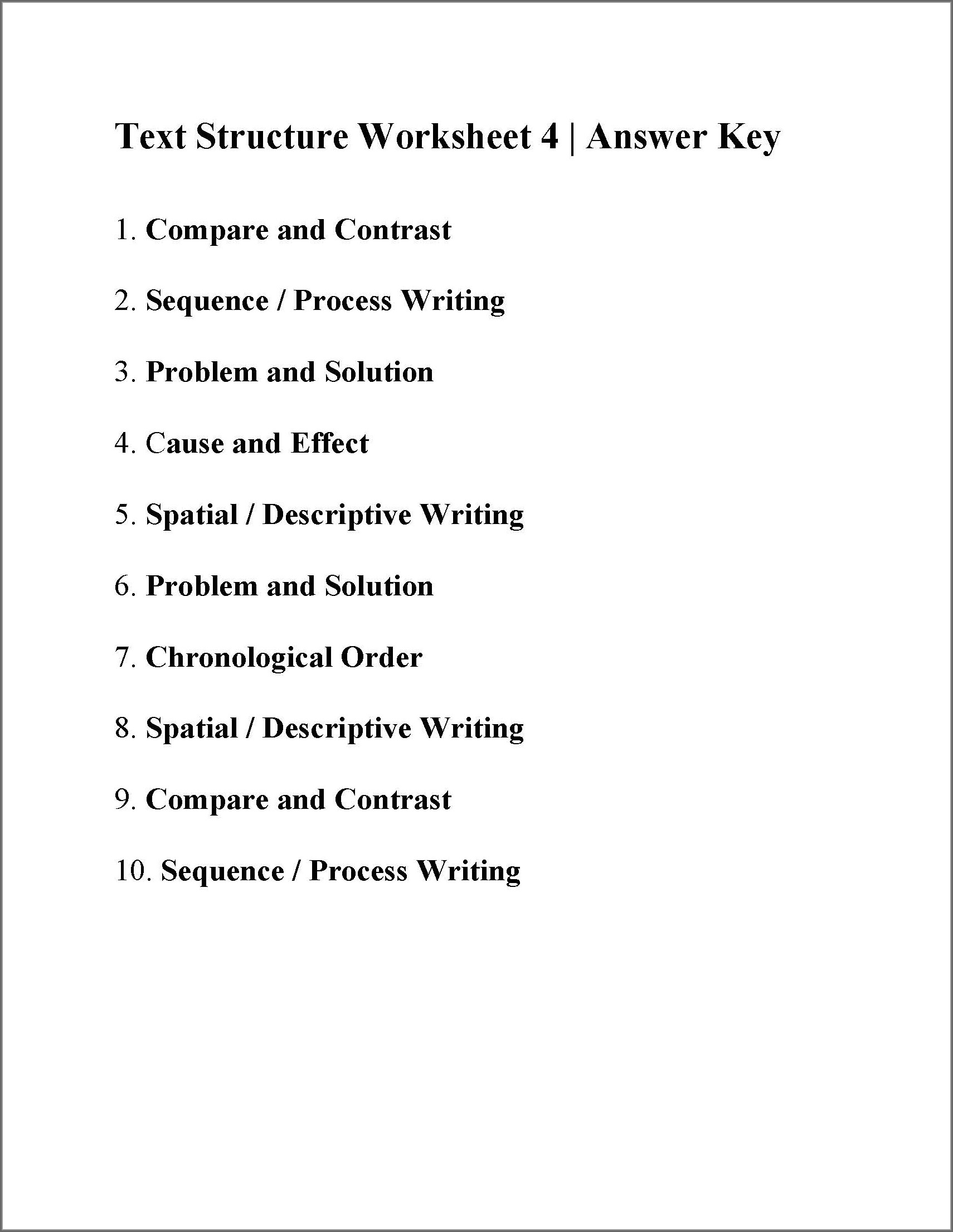 Text Structure Worksheets 5th Grade Pdf