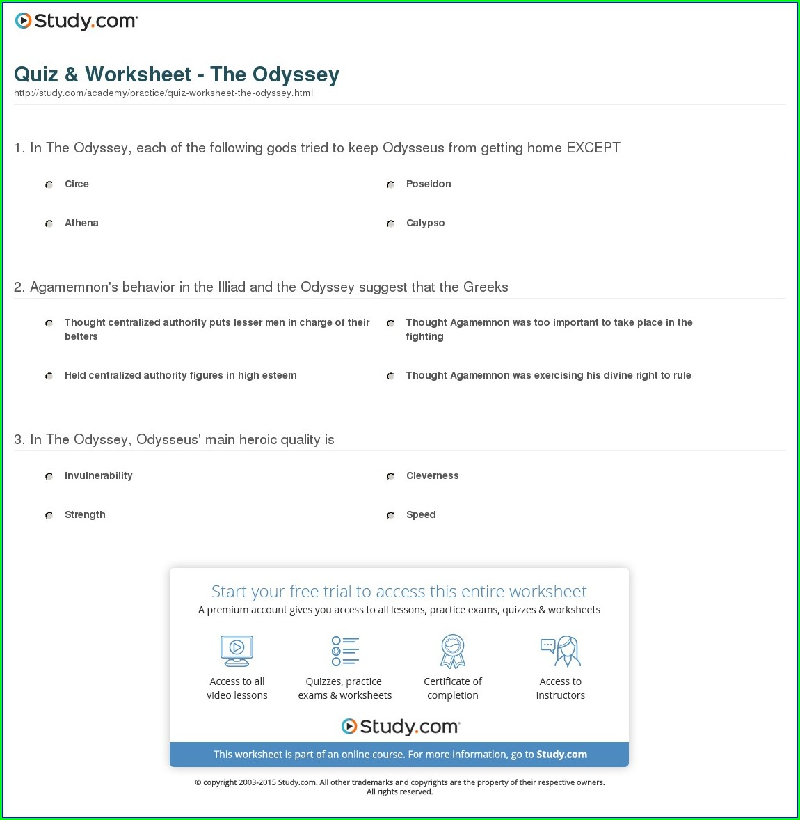 The Odyssey Timeline Worksheet