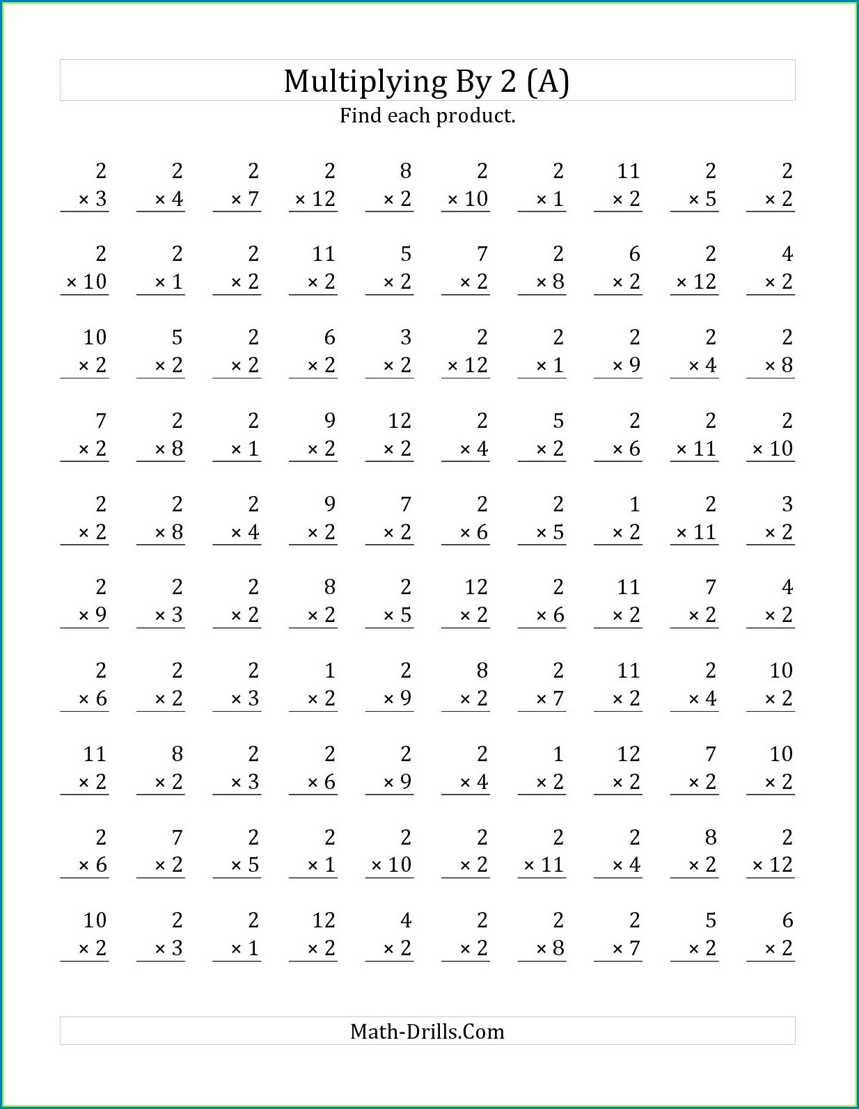 Third Grade 12 Multiplication Worksheet