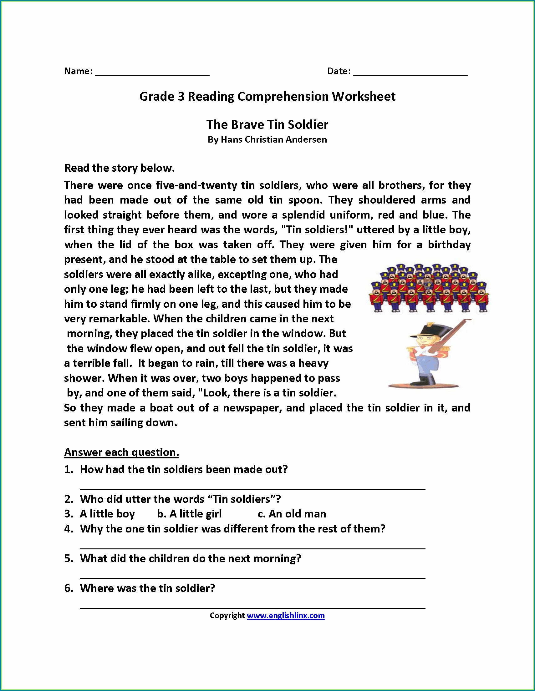 Third Grade English Comprehension Worksheets For Grade 3 Pdf
