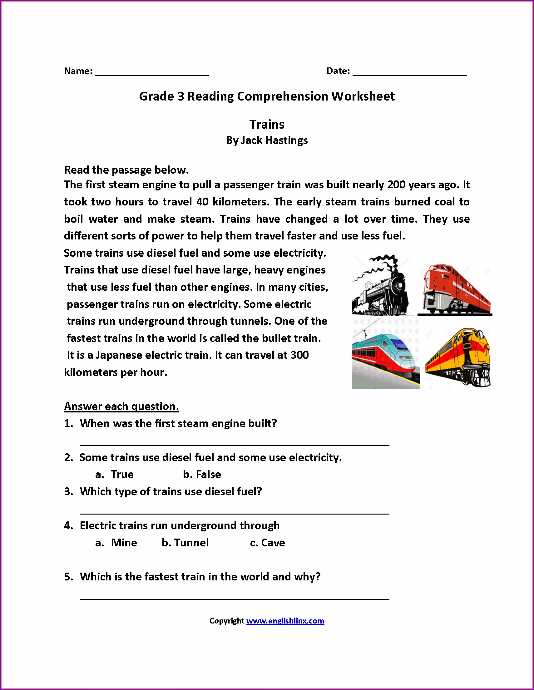 Third Grade English Worksheet For Grade 3