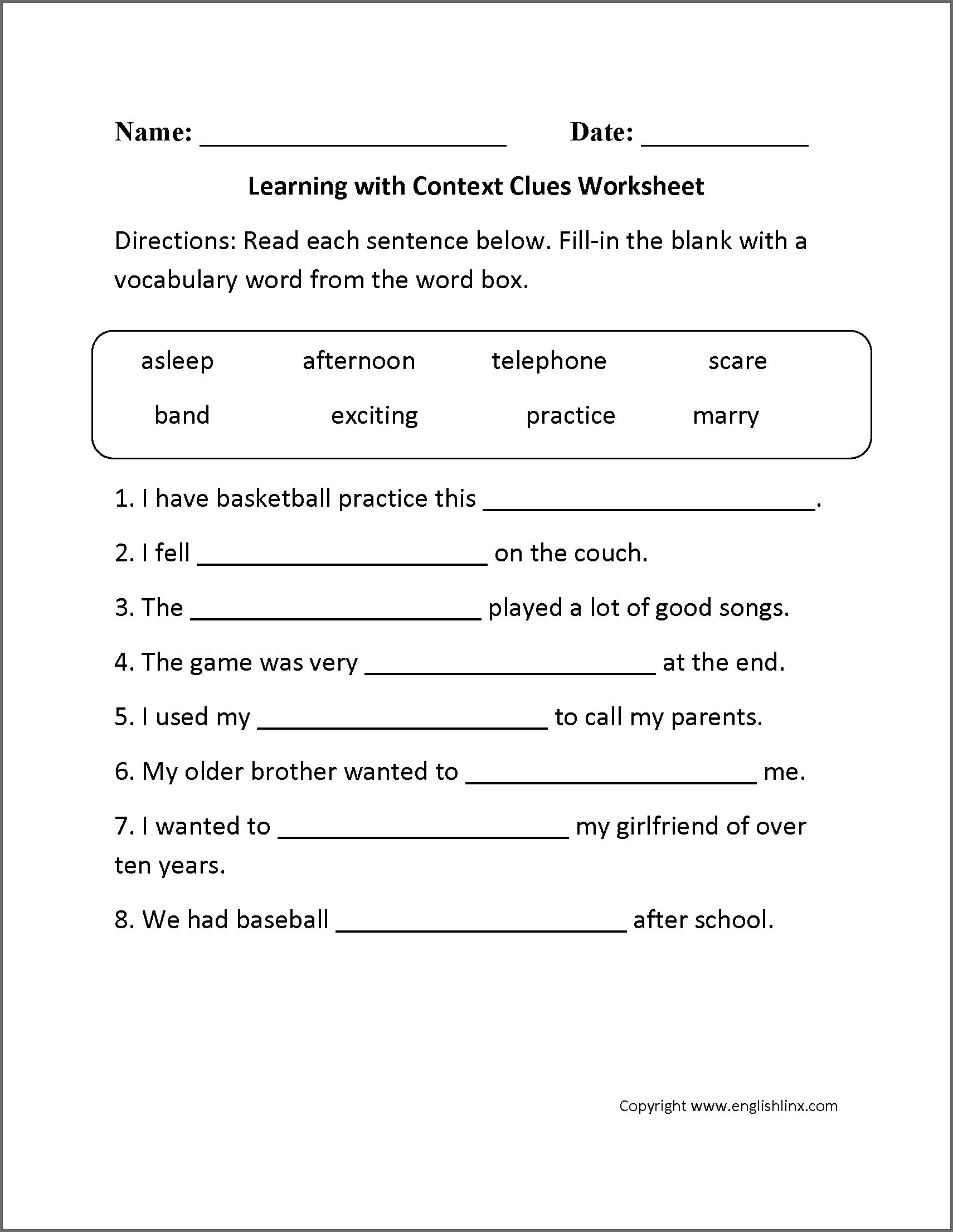 Third Grade English Worksheet Grade 3
