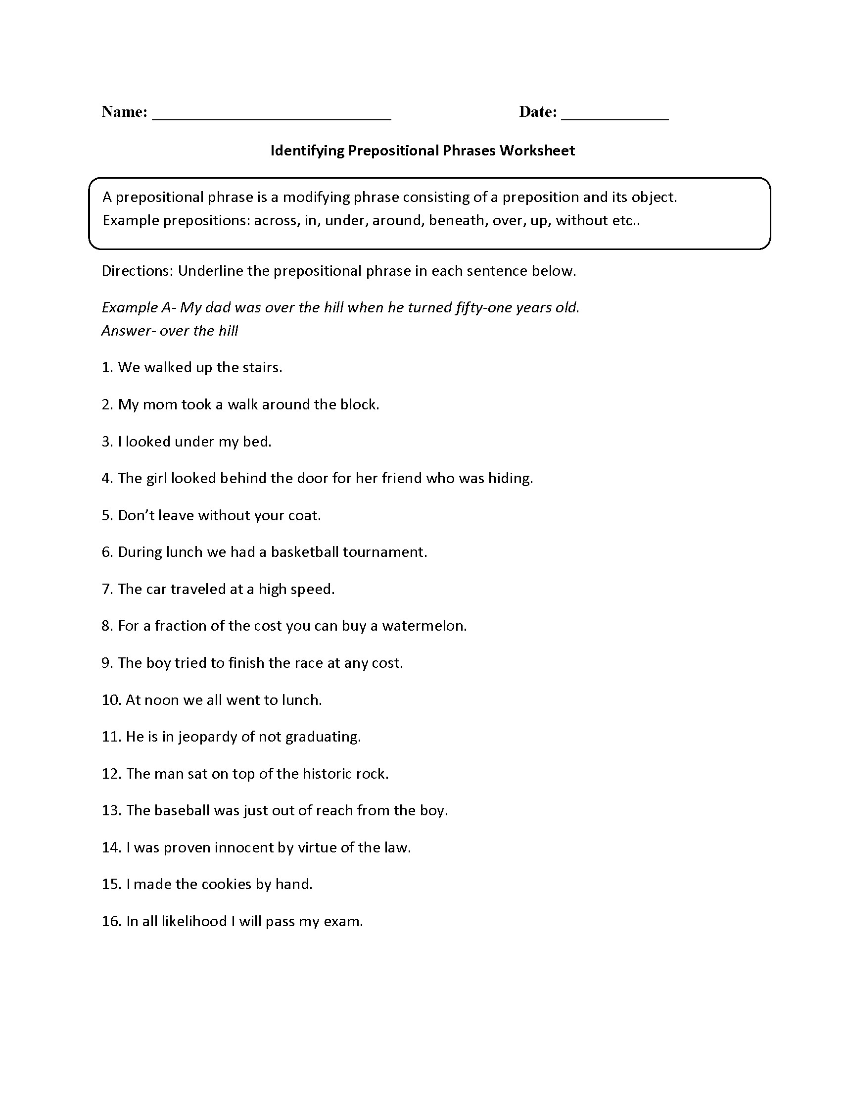 Transitional Words And Phrases Worksheet Answers