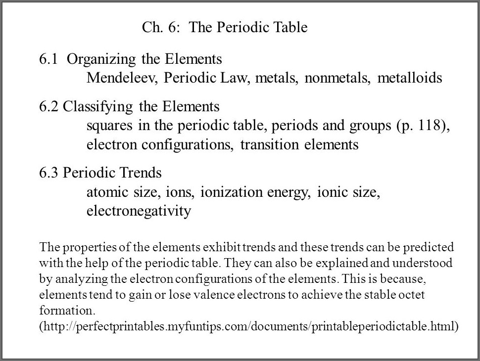 Using The Periodic Table Worksheet Chapter 6 Section 6.2 Answers