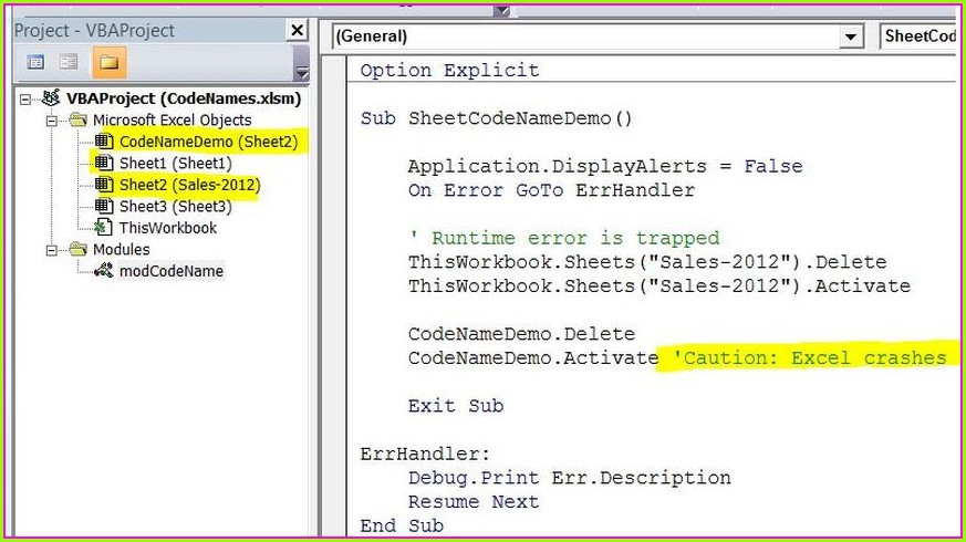 Vba Reference Worksheet By Codename