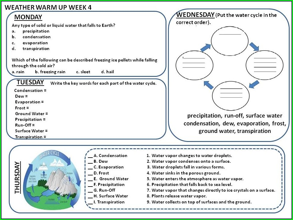 Water Cycle Worksheet Answers 6th Grade