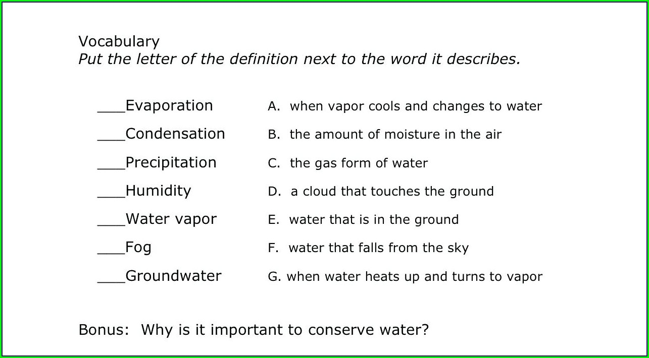 Water Cycle Worksheet Grade 3
