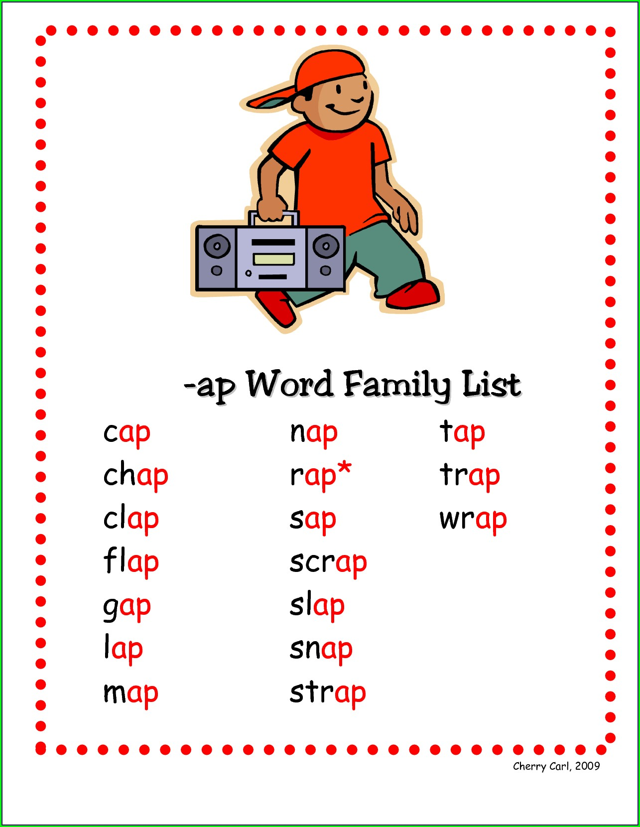 Word Family List With Pictures