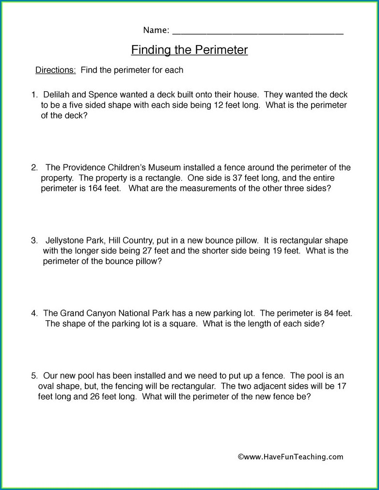 Word Problems Perimeter Worksheet