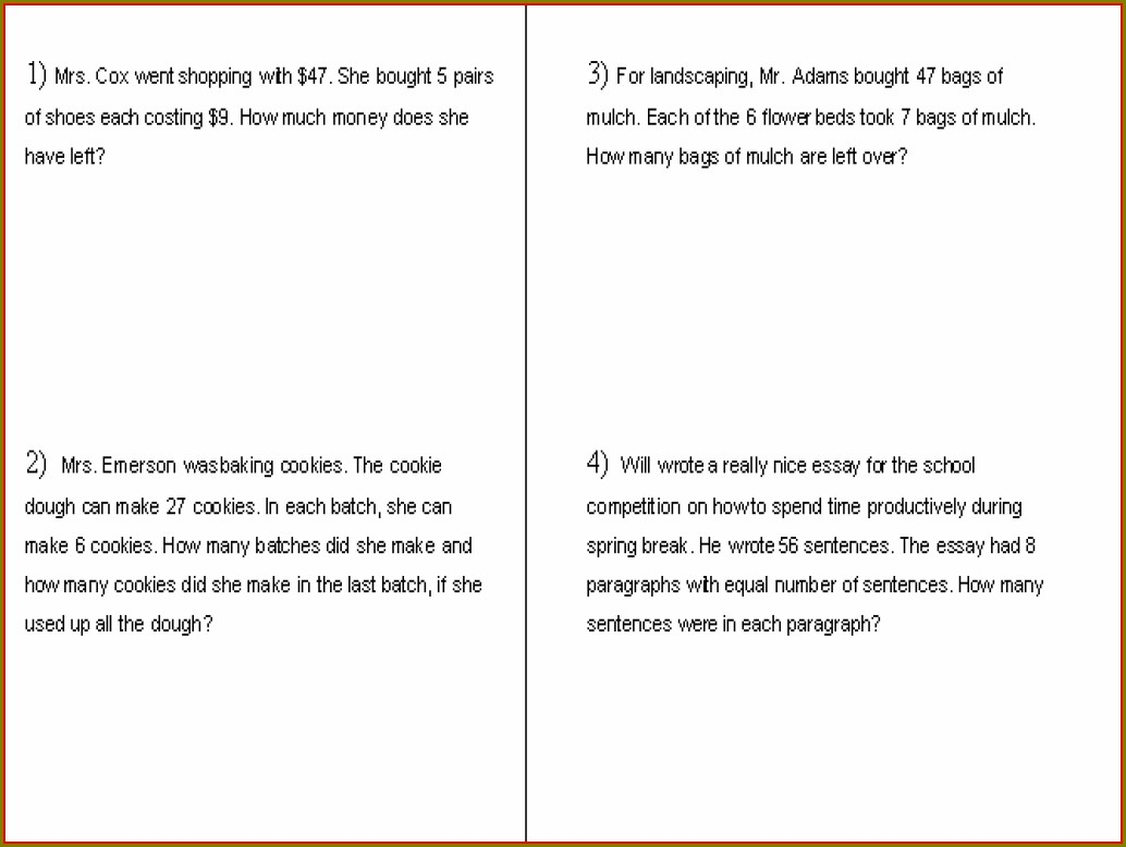 Word Problems Worksheet For 5th Grade