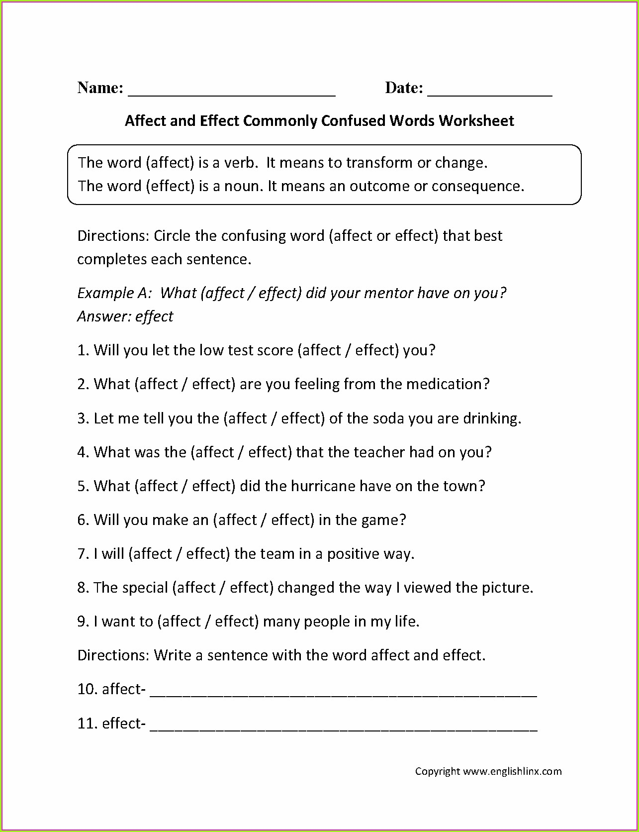 Words Commonly Confused Worksheet Part 1 Answers