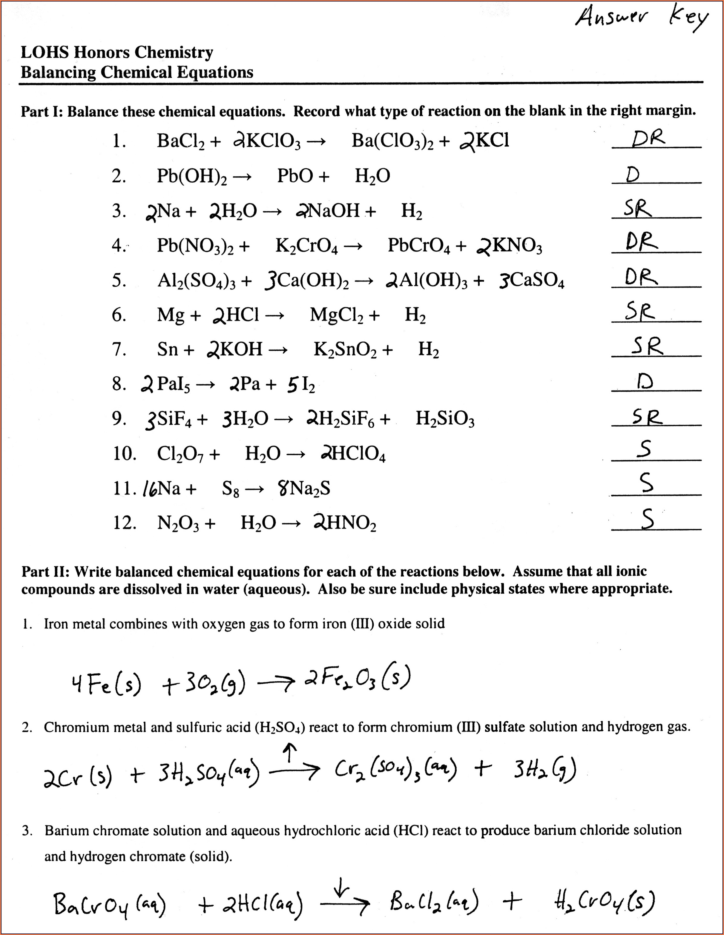 Worksheet Balancing Word Equations Chapter 8
