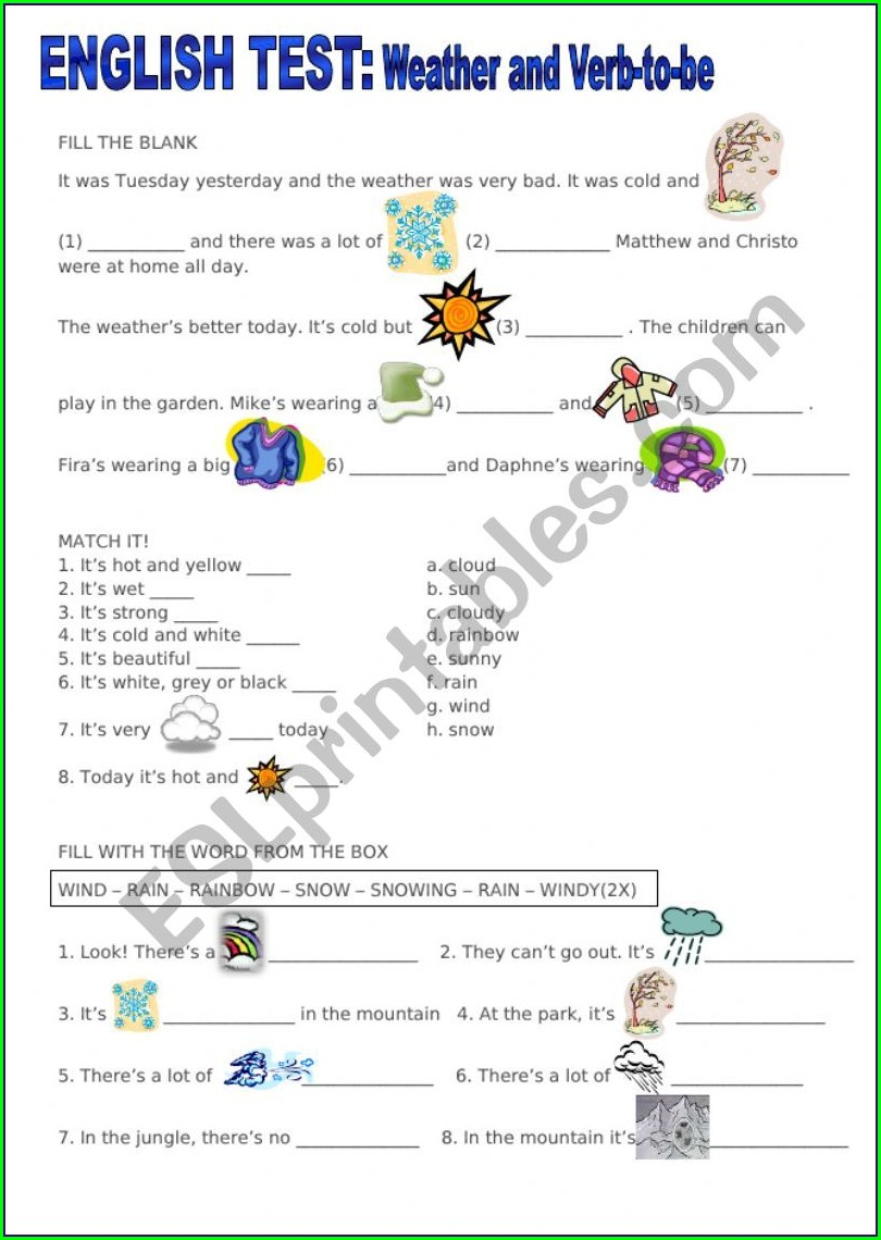 Worksheet English To Be