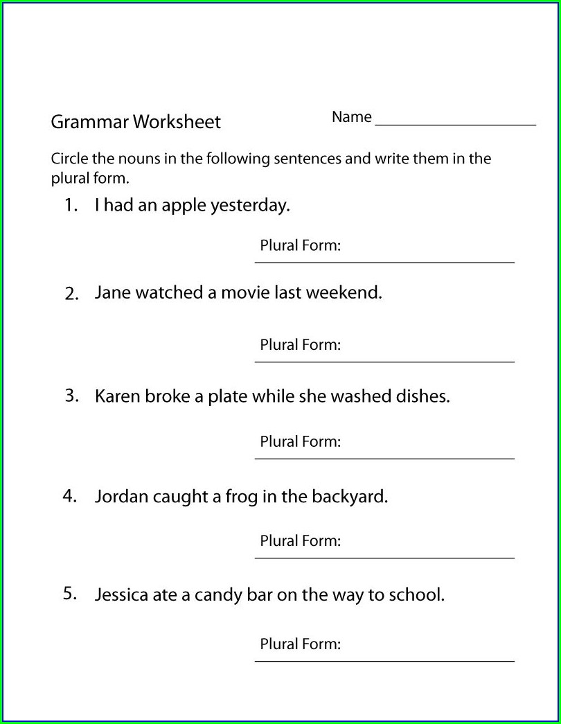 Worksheet For 4th Grade English Grammar
