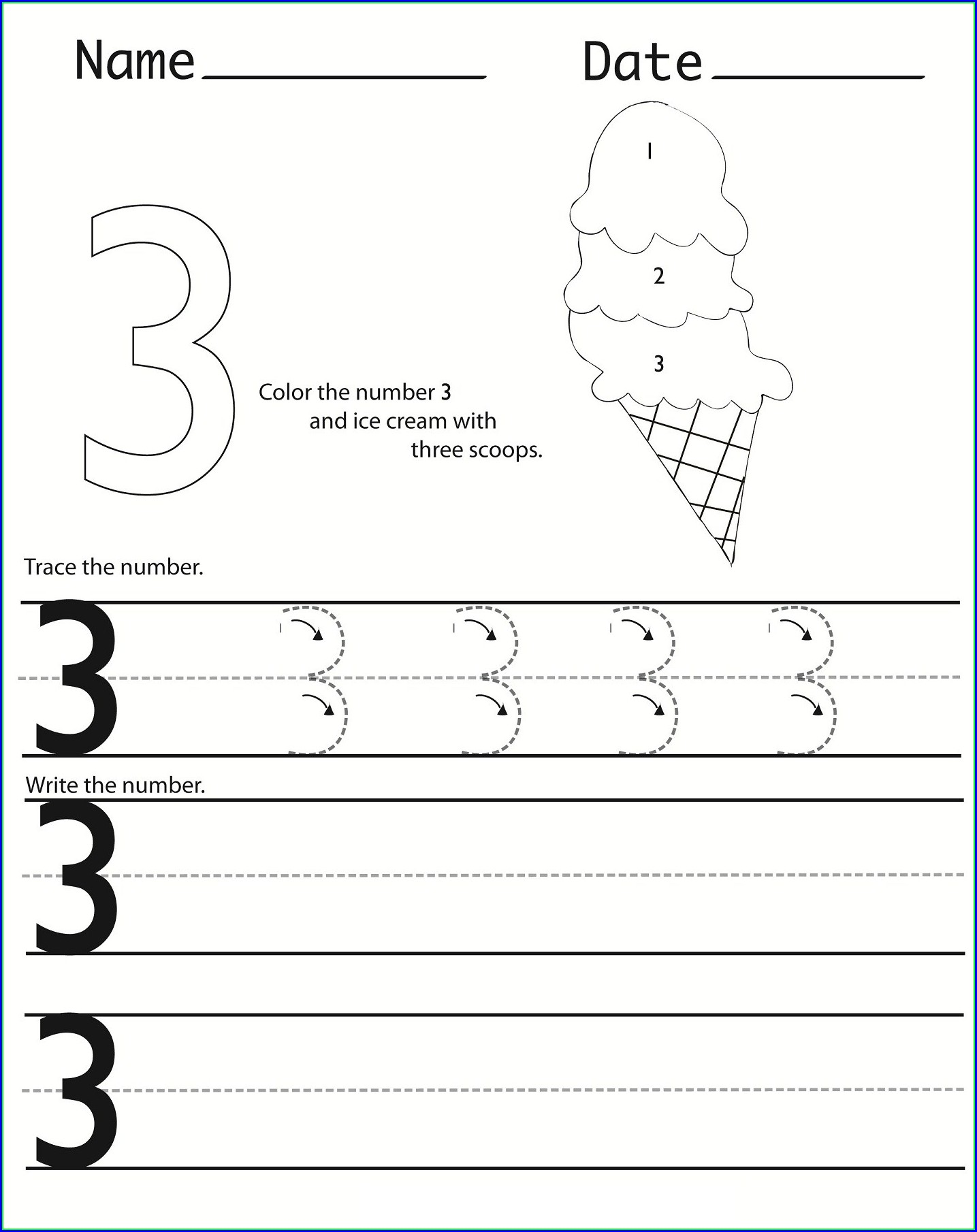 Worksheet For Number 3