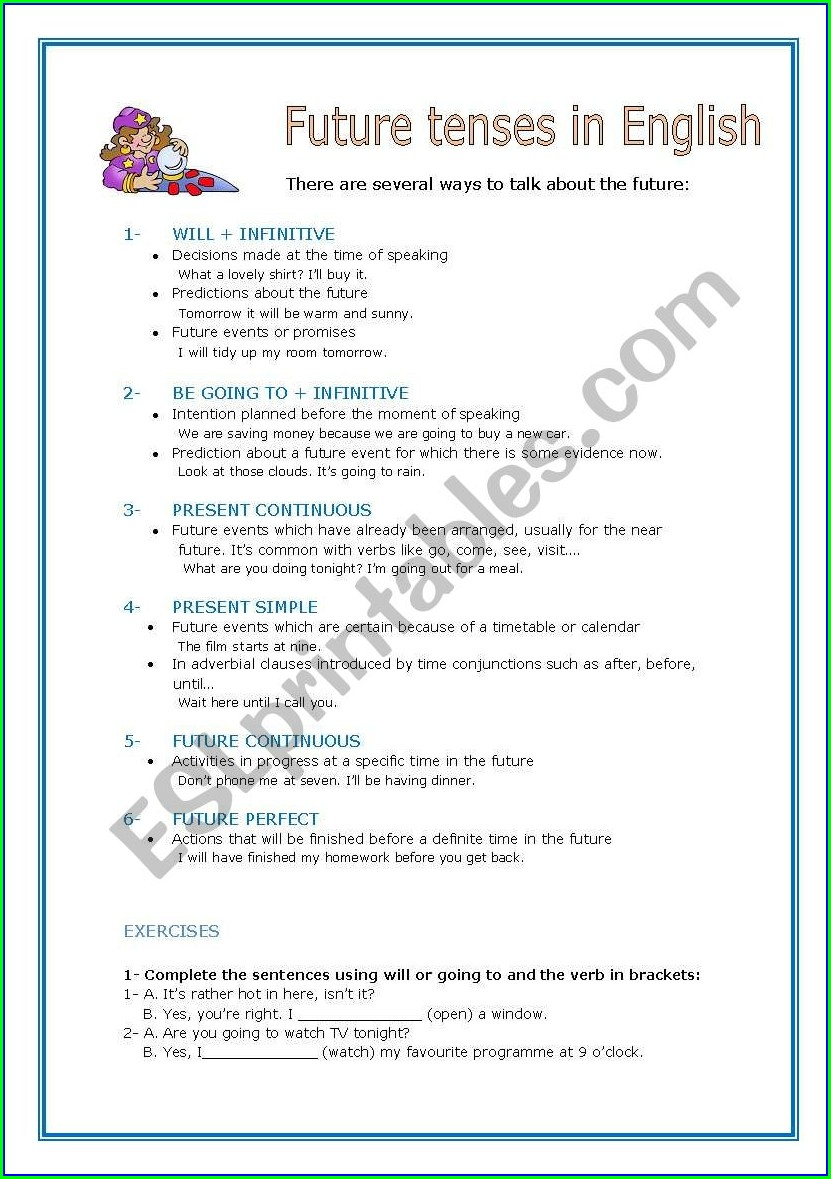 Worksheet In English Tenses