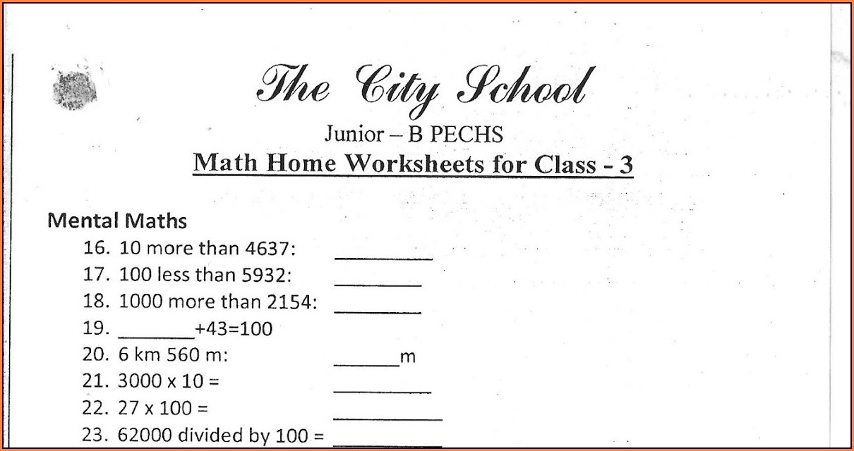 Worksheet Of English For Class 3