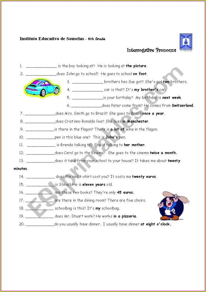 Worksheet On Interrogative Pronouns For Grade 2