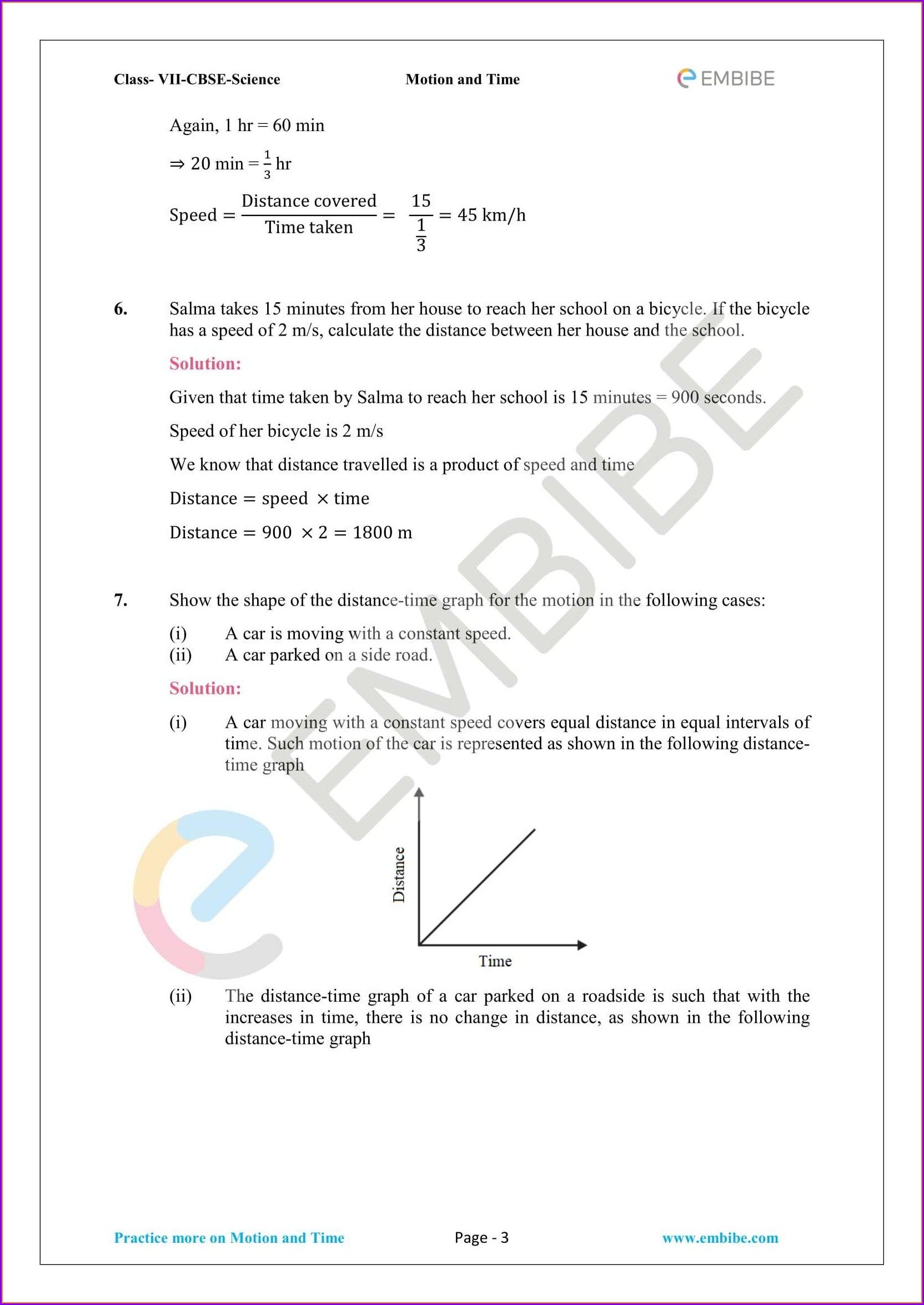 Worksheet On Time For Class 3