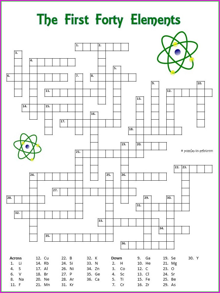 Worksheet Periodic Table Crossword Puzzle Answers