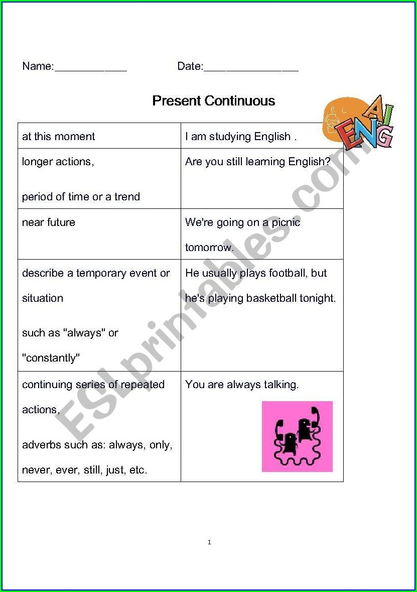 Worksheets English Present Continuous