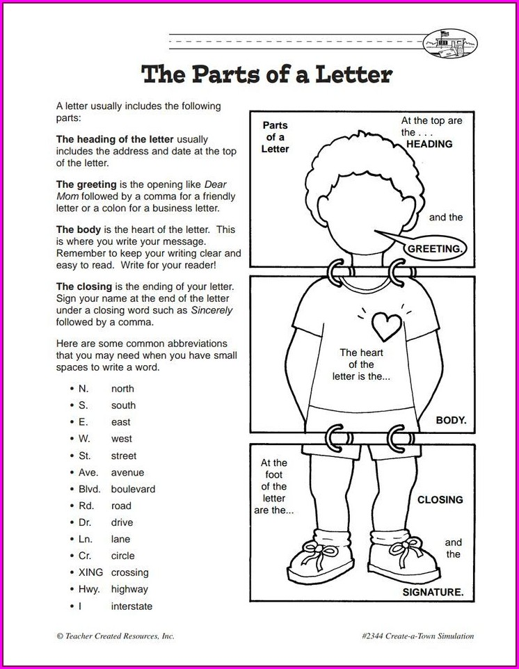 Writing A Friendly Letter Worksheet Pdf