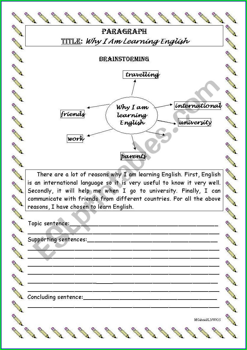 Writing A Paragraph Worksheet