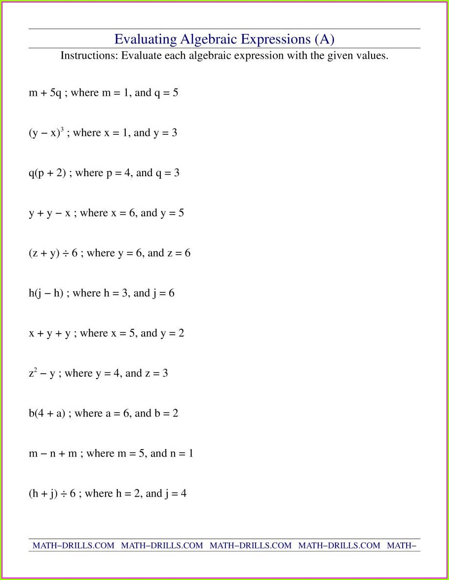 Writing Algebraic Expressions Worksheet Pdf With Answers