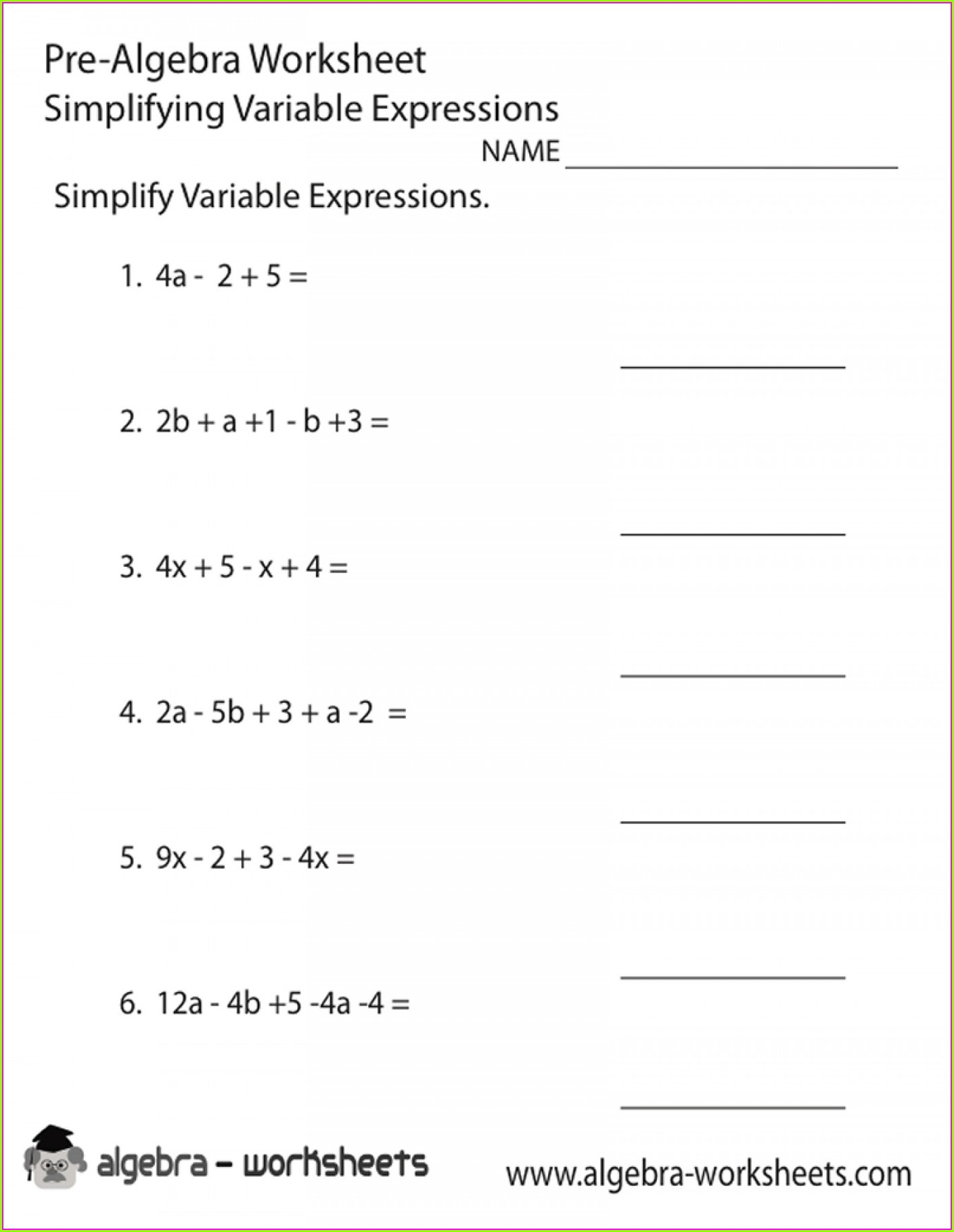 Writing Algebraic Expressions Worksheet Pdf