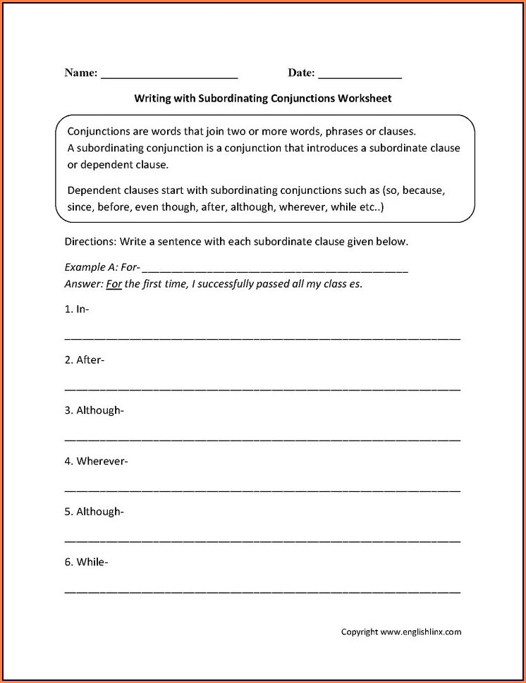 Writing Complex Sentences Worksheet Middle School
