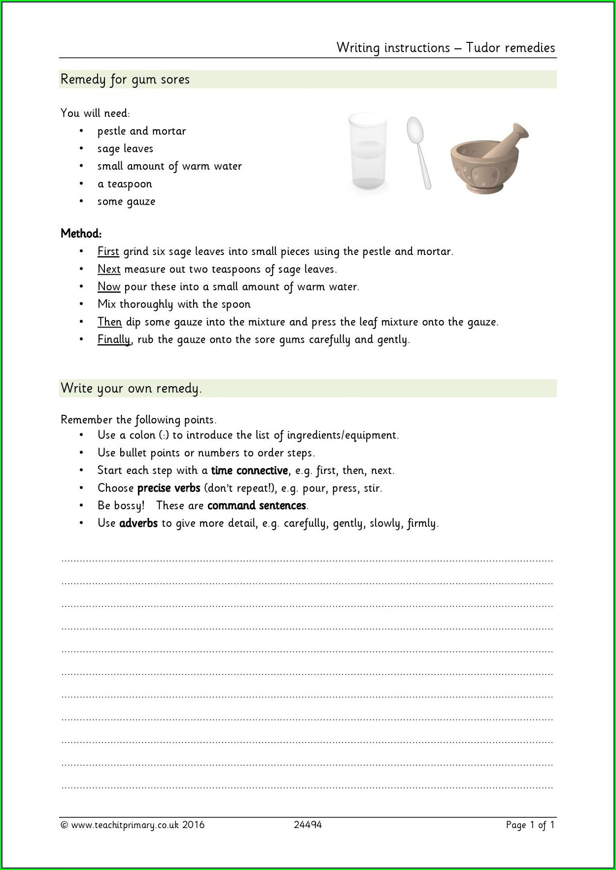 Writing Instructions Worksheet Ks2