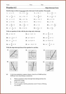Writing Linear Equations In Slope Intercept Form Worksheet Answers