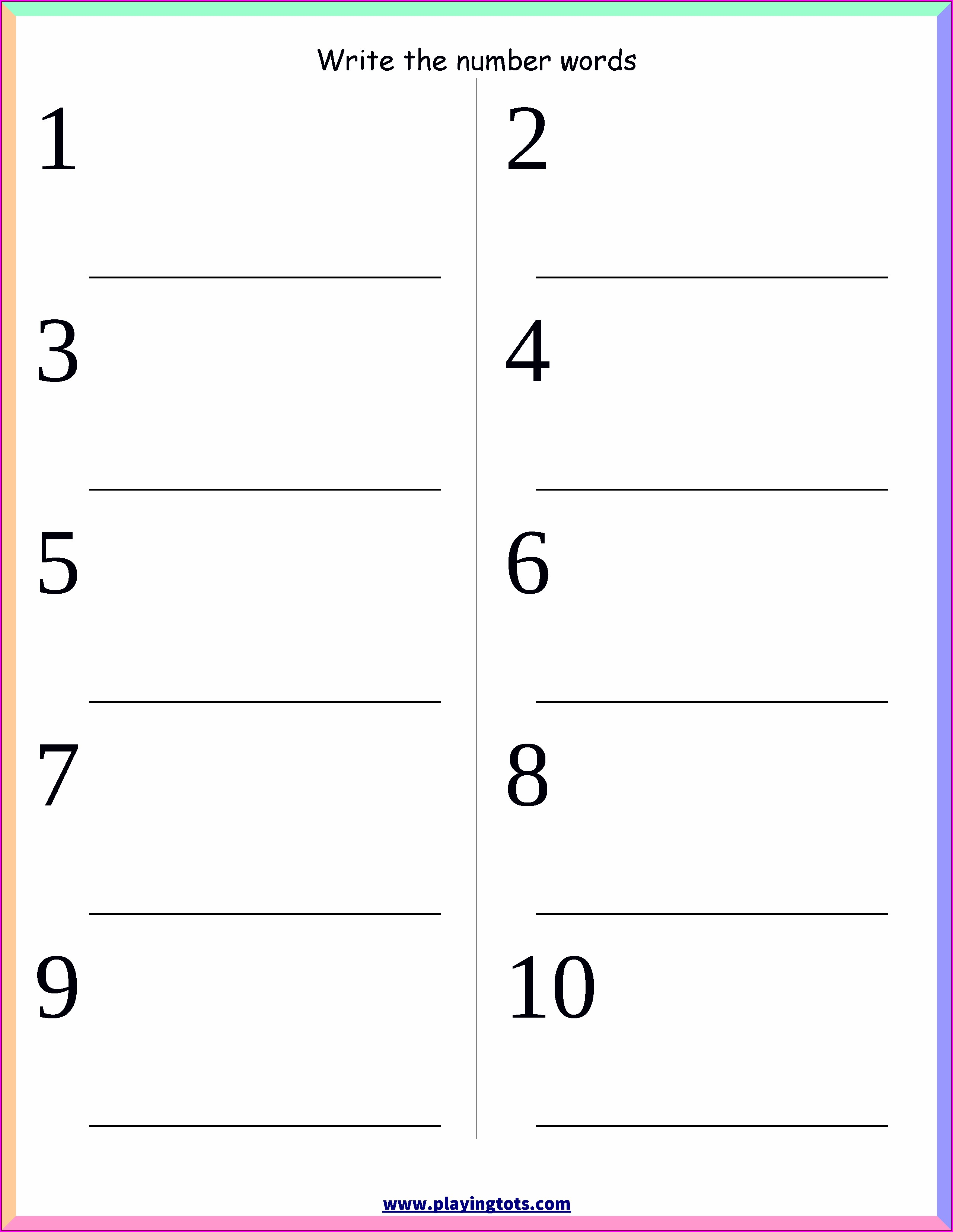 Writing Number Words Worksheets For Kindergarten