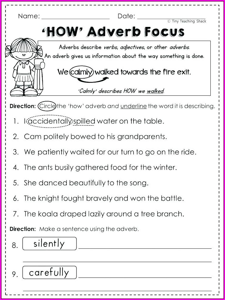 Writing Sentences With Adverbs Worksheets