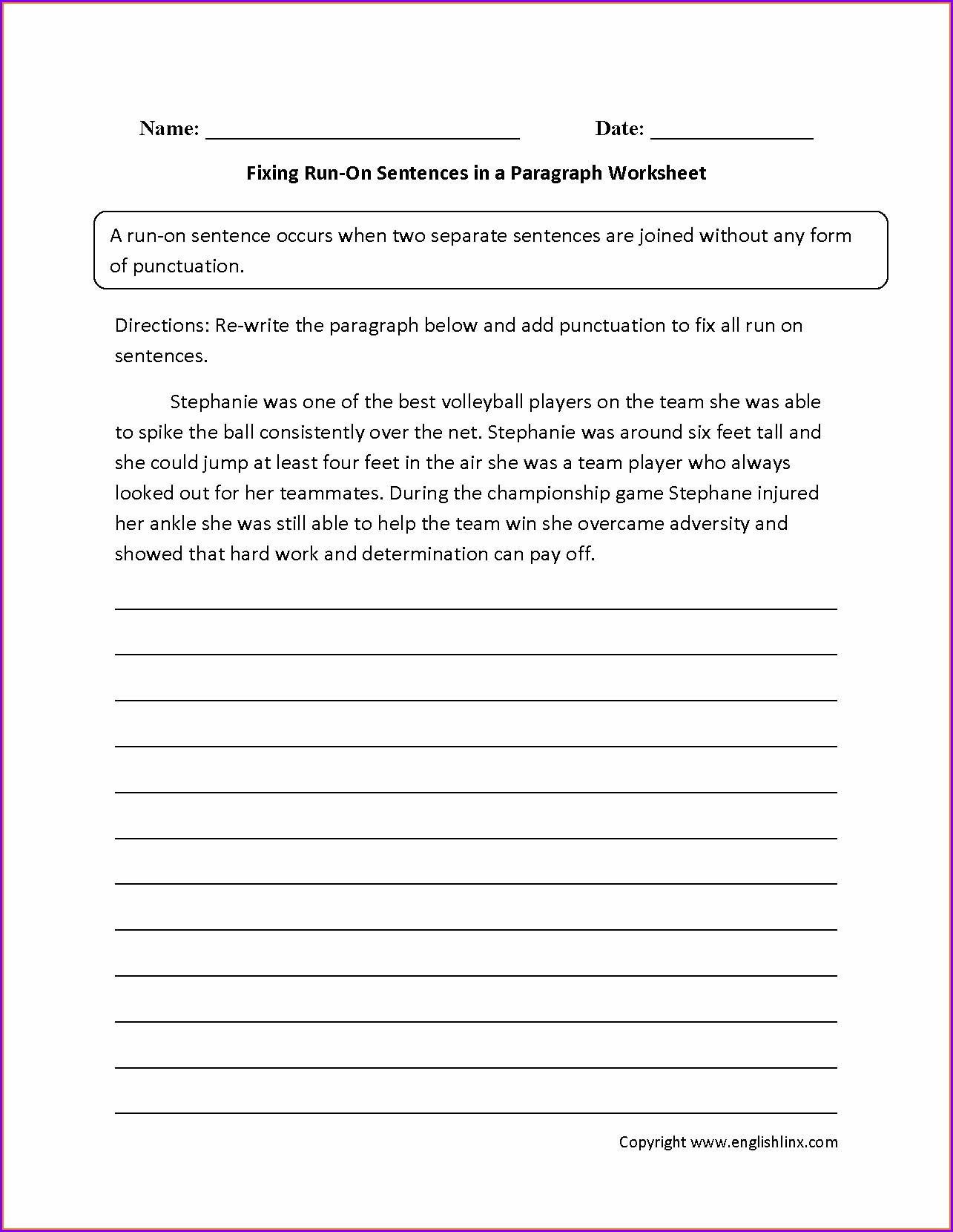 Writing Sentences Worksheets For Middle School