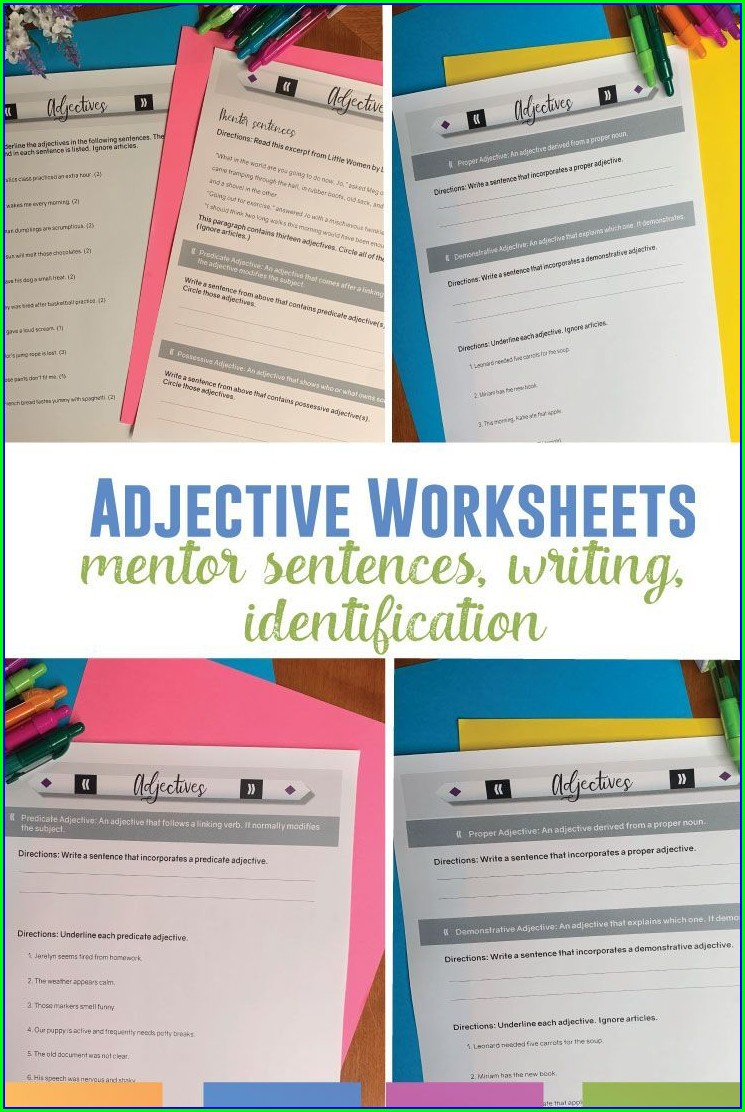 Writing Sentences Worksheets Middle School