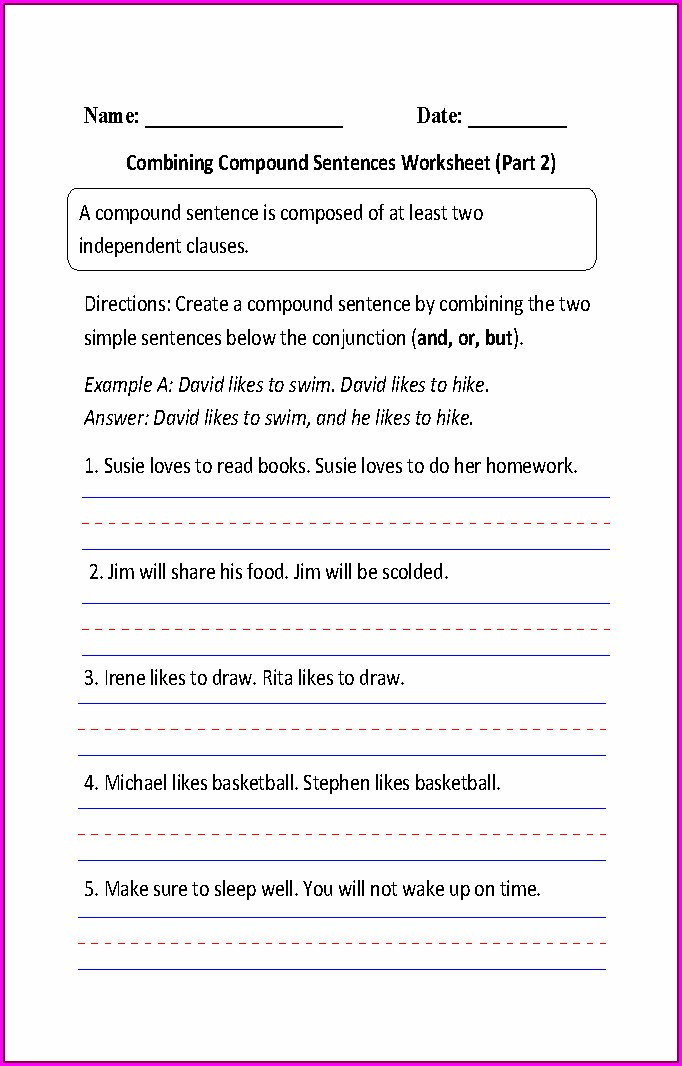 Simple Sentences For Kindergarten Worksheet Pdf