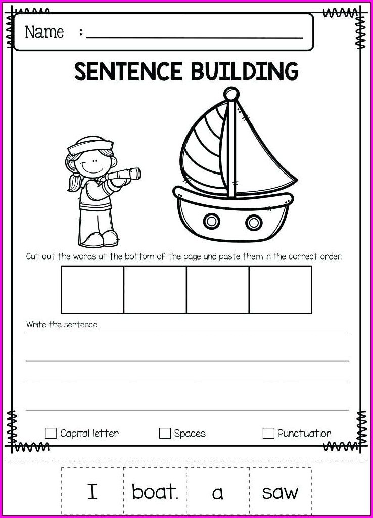 Writing Simple Sentences Worksheets For Kindergarten