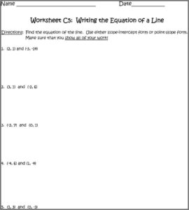 Writing The Equation Of A Line Worksheet