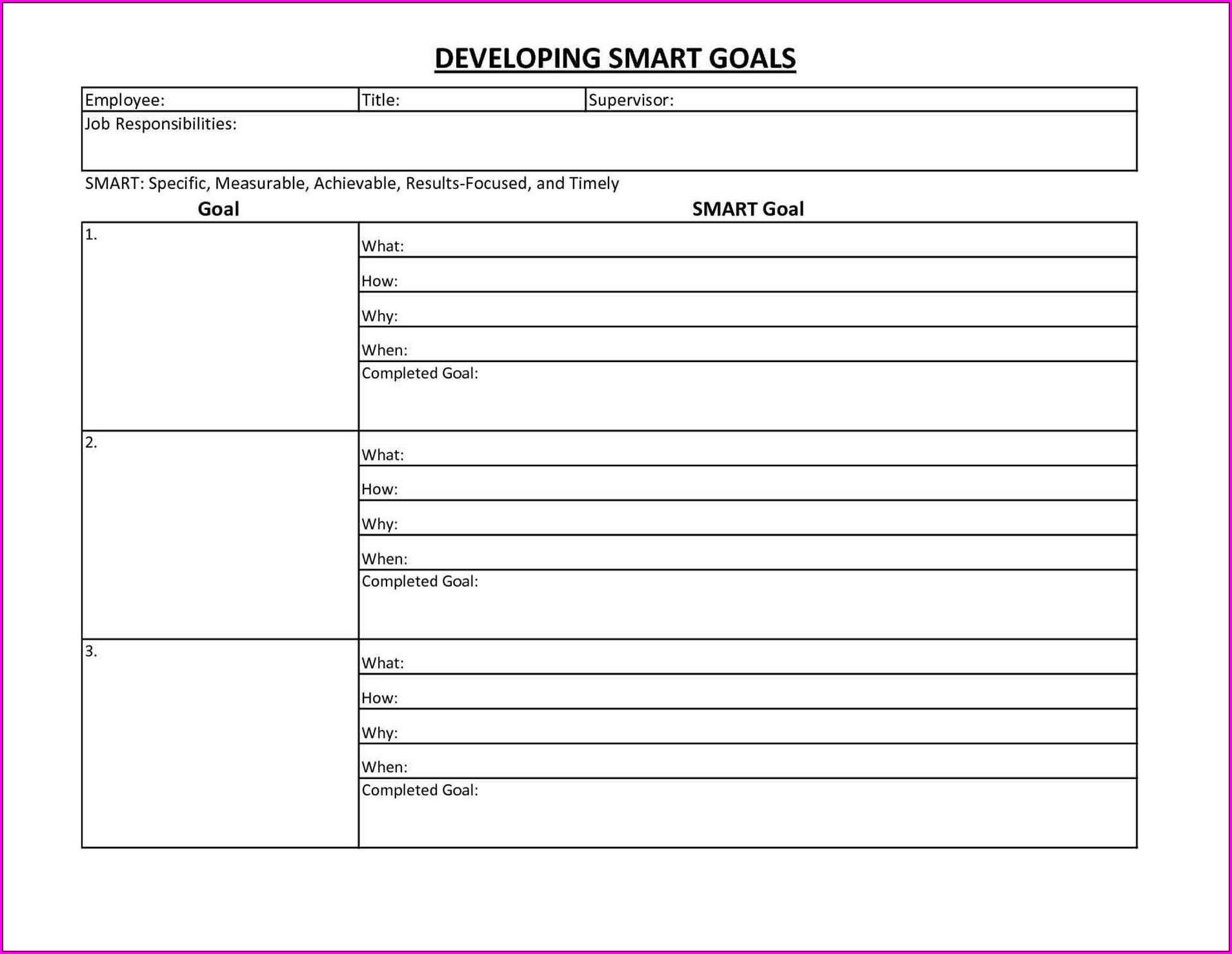 Yearly Goal Setting Worksheet Pdf