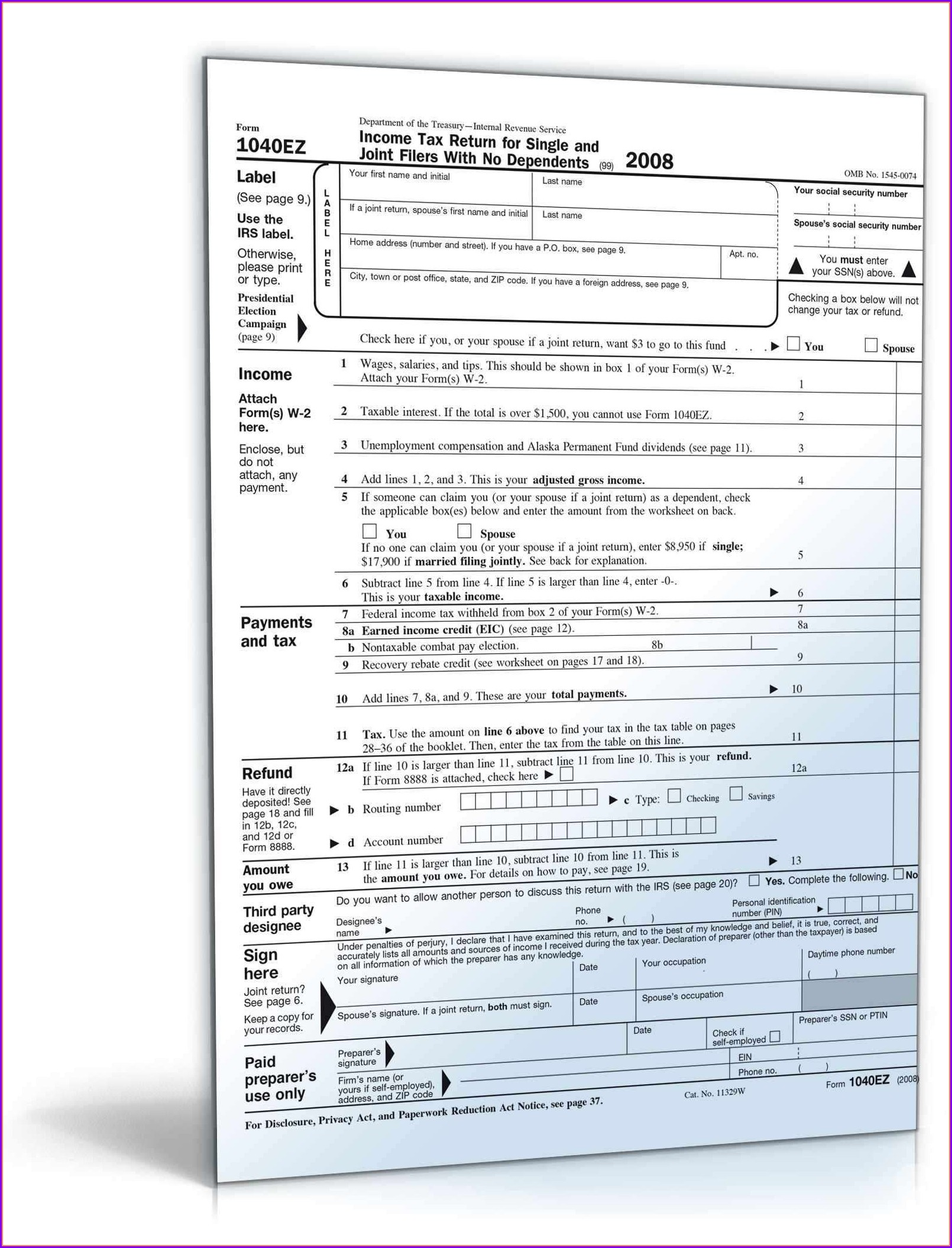 1040ez Earned Income Credit Worksheet