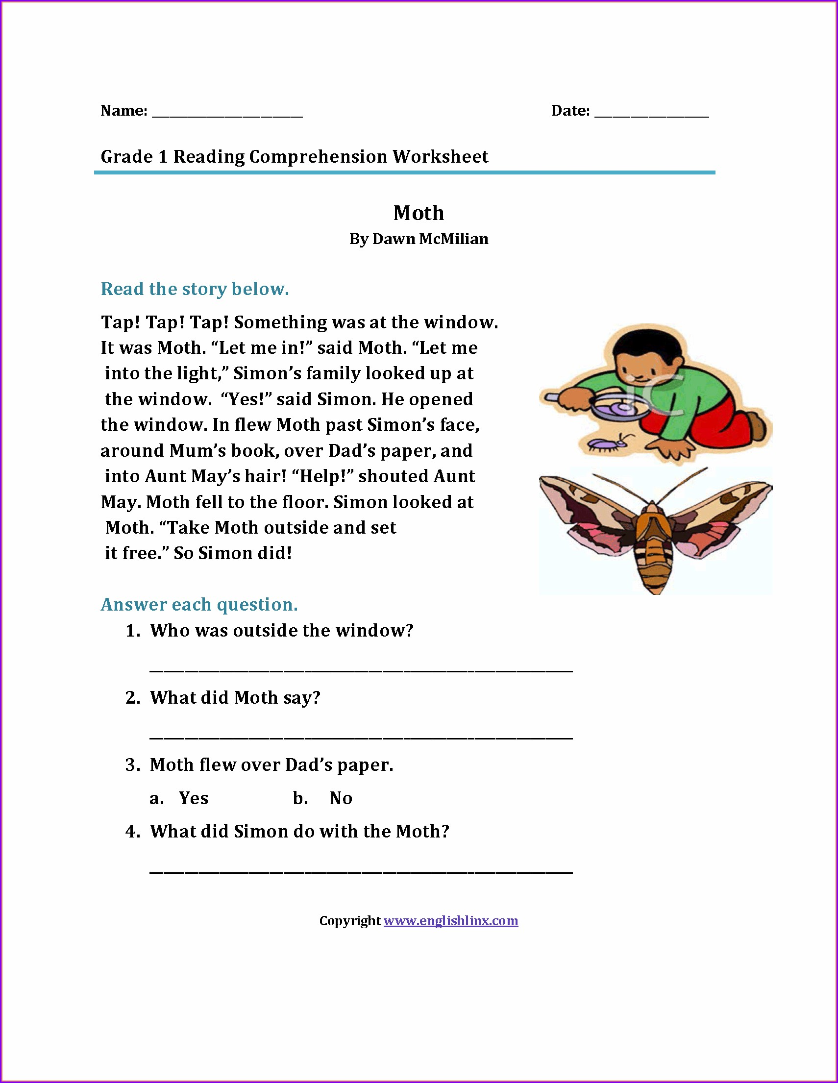 1st Grade Reading Comprehension Grade 1