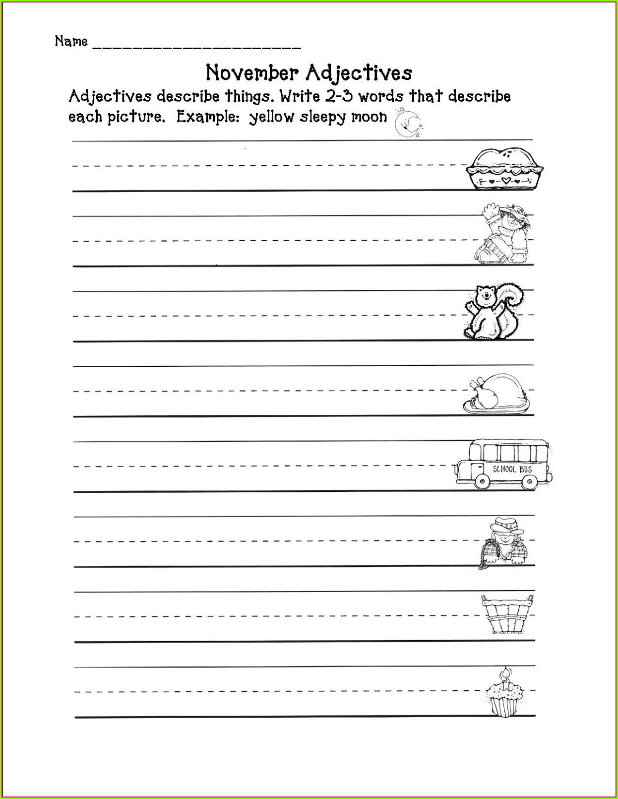 2nd Grade 3rd Grade Adjectives Worksheets