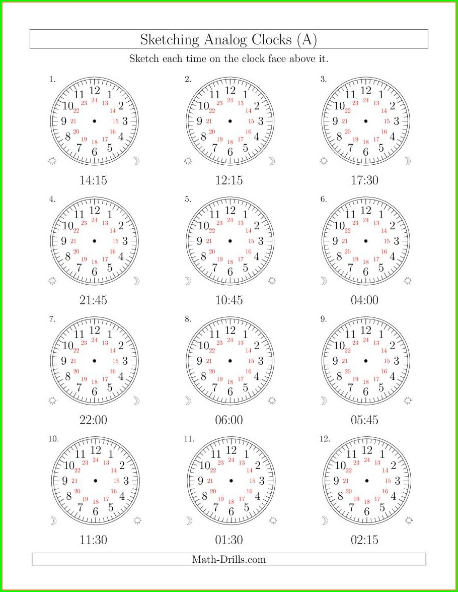 2nd Grade Analog Clock Worksheets