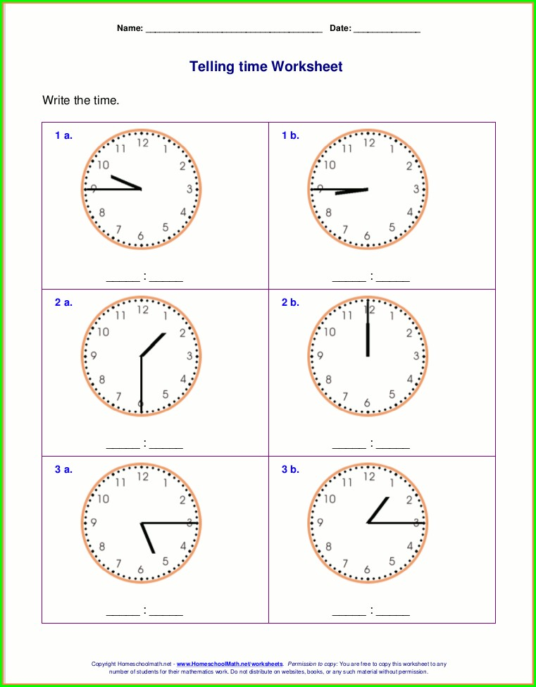 2nd Grade Clock Worksheet Grade 2