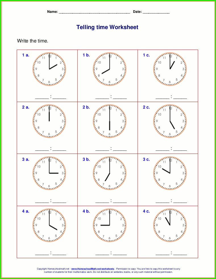2nd Grade Clock Worksheet Telling Time Worksheets Grade 2 Pdf