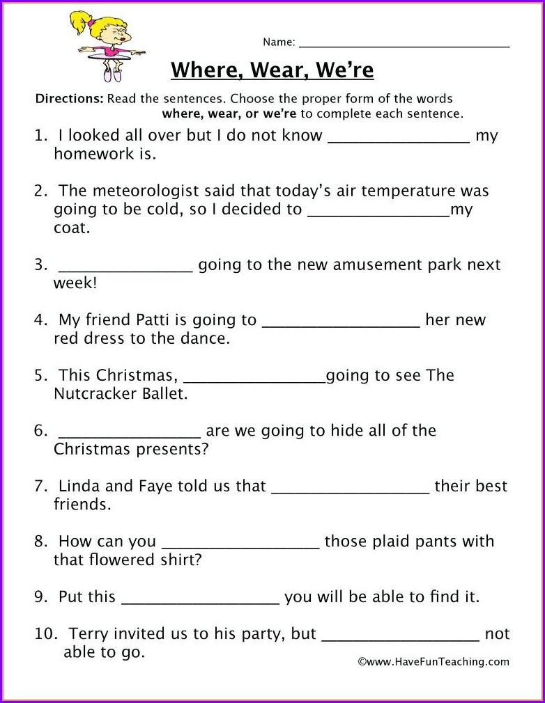 2nd Grade Homophones Worksheets Pdf