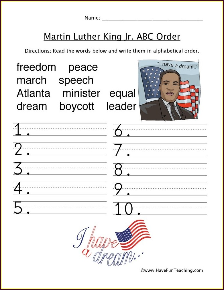 2nd Grade Martin Luther King Jr Day Worksheets
