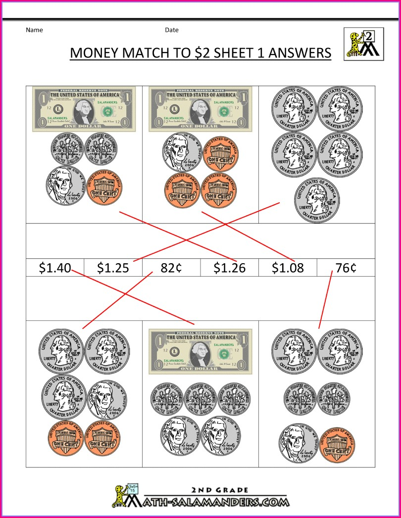 2nd Grade Math Worksheets Money